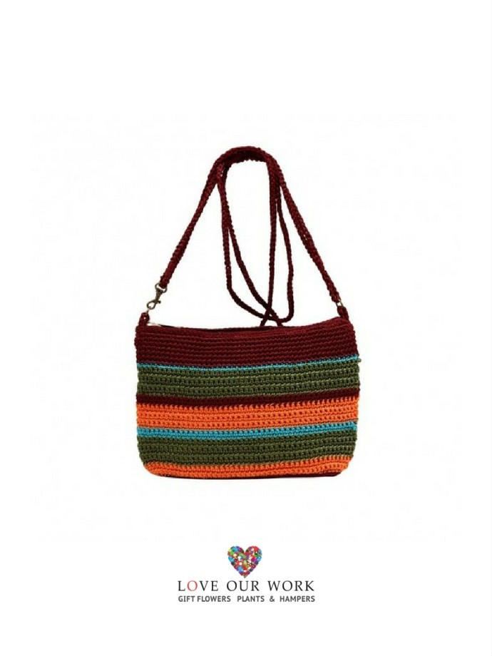 This super fun Jiera- Hand Made Crochet Patterned bag