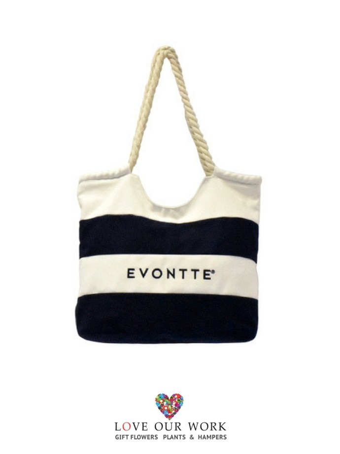 338551e4de embroidered navy and white striped canvas beach bag
