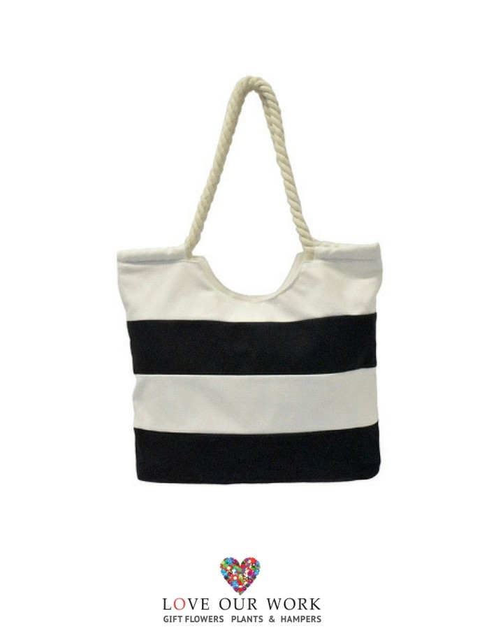 navy and white striped canvas beach bag are great