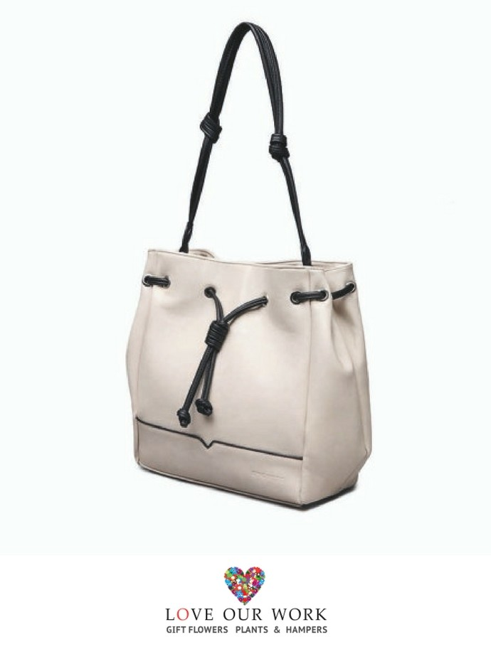 Beige Vegan Leather Convertible Backpack and Bag
