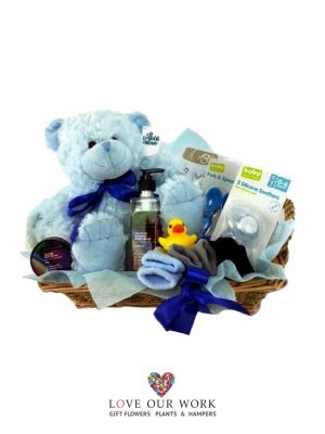 It's a Boy! This hamper contains quality gifts to welcome in baby