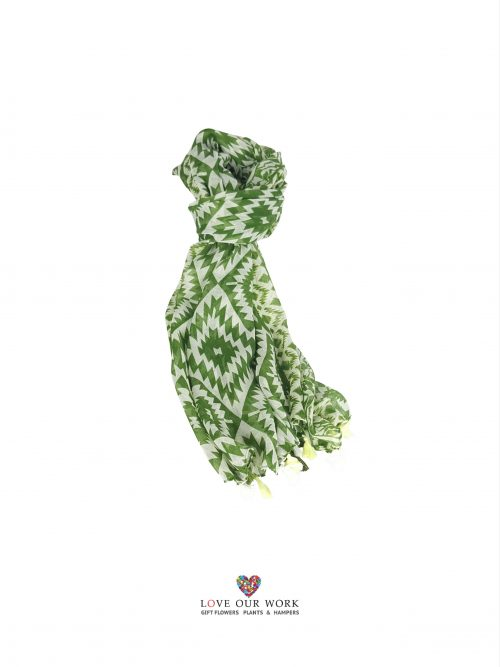 Green Aztec Scarf is made from a beautiful light weight 100% cotton