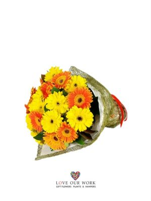 A generous and up-beat hand-tied bouquet of beautiful bold Gerberas