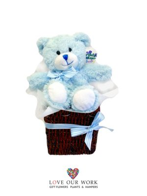 Send this cuddly bear in a basket to let them know you care.