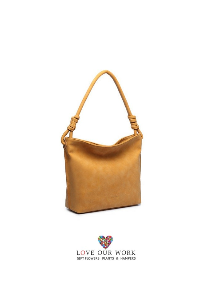 This Amazing Mustard Suede look vegan leather tote bag - Holly -