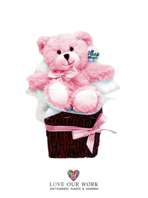 It's a girl! Send this cuddly bear in a basket to let them know you care.