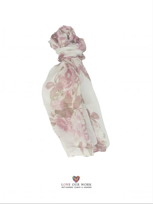 Pink Rose Scarf is made from a beautiful light weight 100% Cotten, finished with a straight edge at each end.