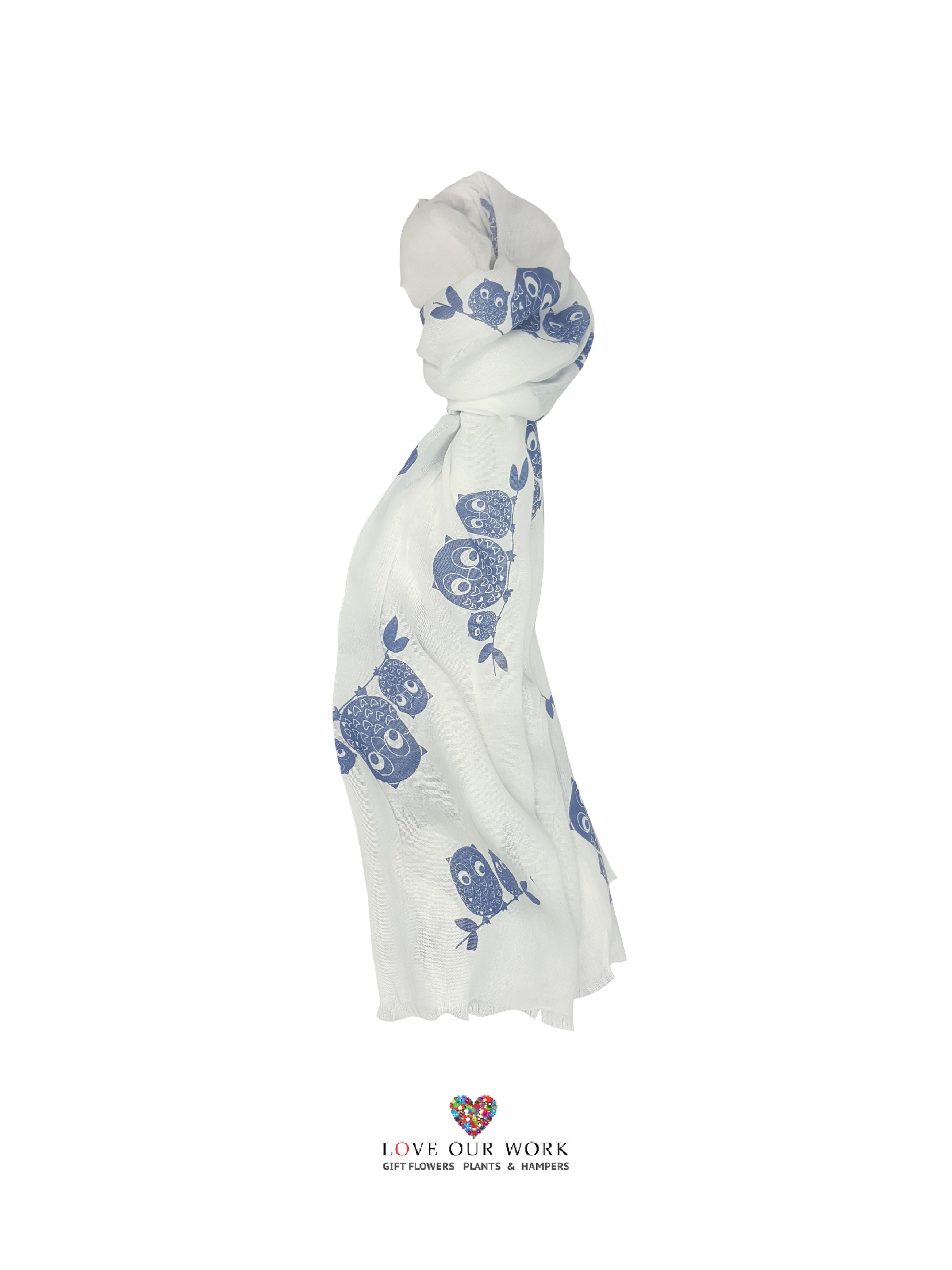Blue owl scarf is made from a beautiful lightweight 100% Cotton