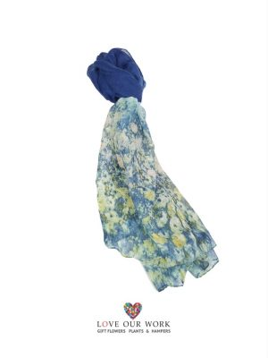 Blue watercolour Scarf is made from a beautiful lightweight 100% Cotton
