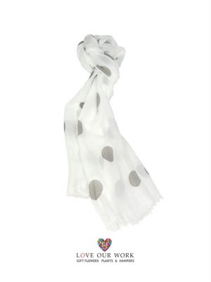 Gray Polka Dot Scarf is made from a beautiful lightweight