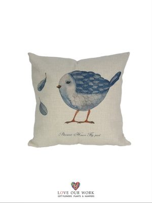 Natural Blue Bird cushions are luxuriously soft to the touch.