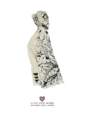 Wool Black Bird Scarf is made from a beautiful light weight 100% Wool