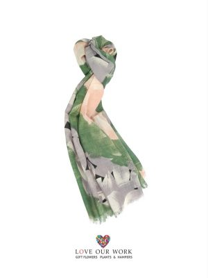 Wool Green and Coral Scarf is made from a beautiful light weight 100% Wool