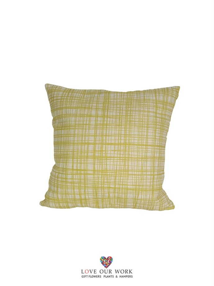 Thin Lined Yellow cushions are luxuriously soft to the touch.