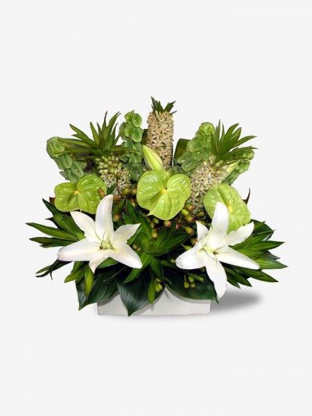 Heartfelt Lilies in a Long Pot Arrangement