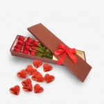 Dozen Long Stemmed Red Roses Boxed with Chocs
