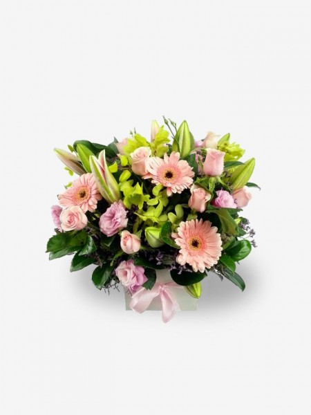 Gentle Sympathy In Pink Flower Arrangement of Roses & Gerberas
