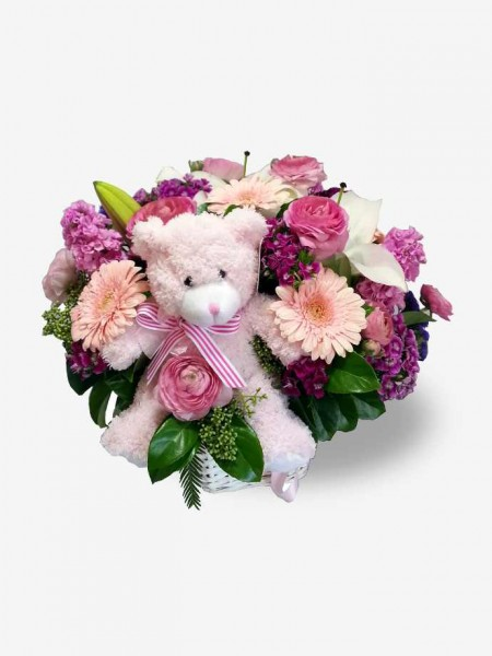 Basket of Pink Flowers with Bear