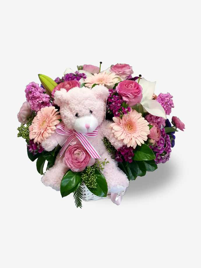 Newborn baby gifts gift sets for boy girl basket of pink flowers with bear negle